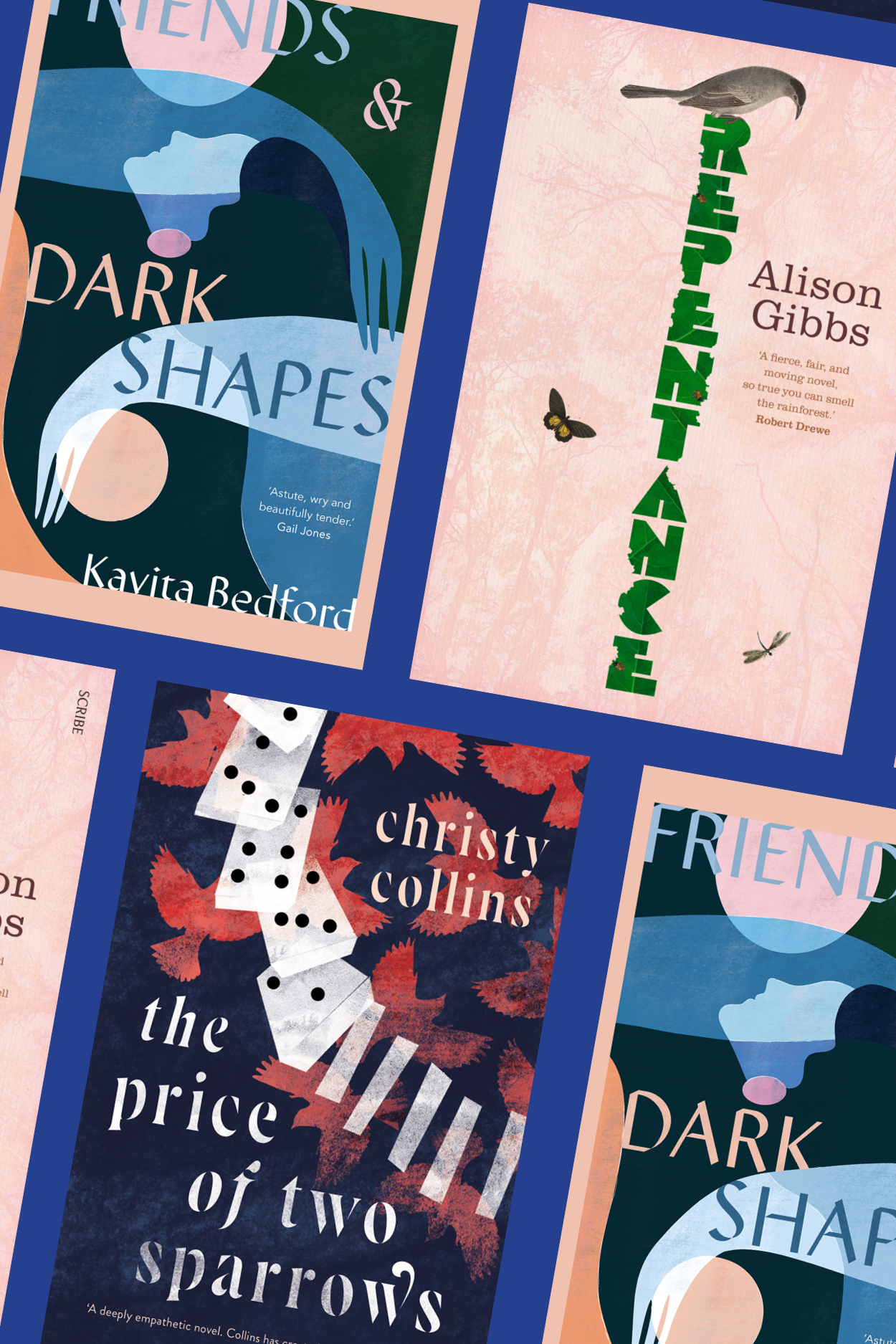 Anna MacDonald reviews 'The Price of Two Sparrows' by Christy Collins, 'Repentance' by Alison Gibbs, 'Low Expectations' by Stuart Everly-Wilson, and 'Friends and Dark Shapes' by Kavita Bedford