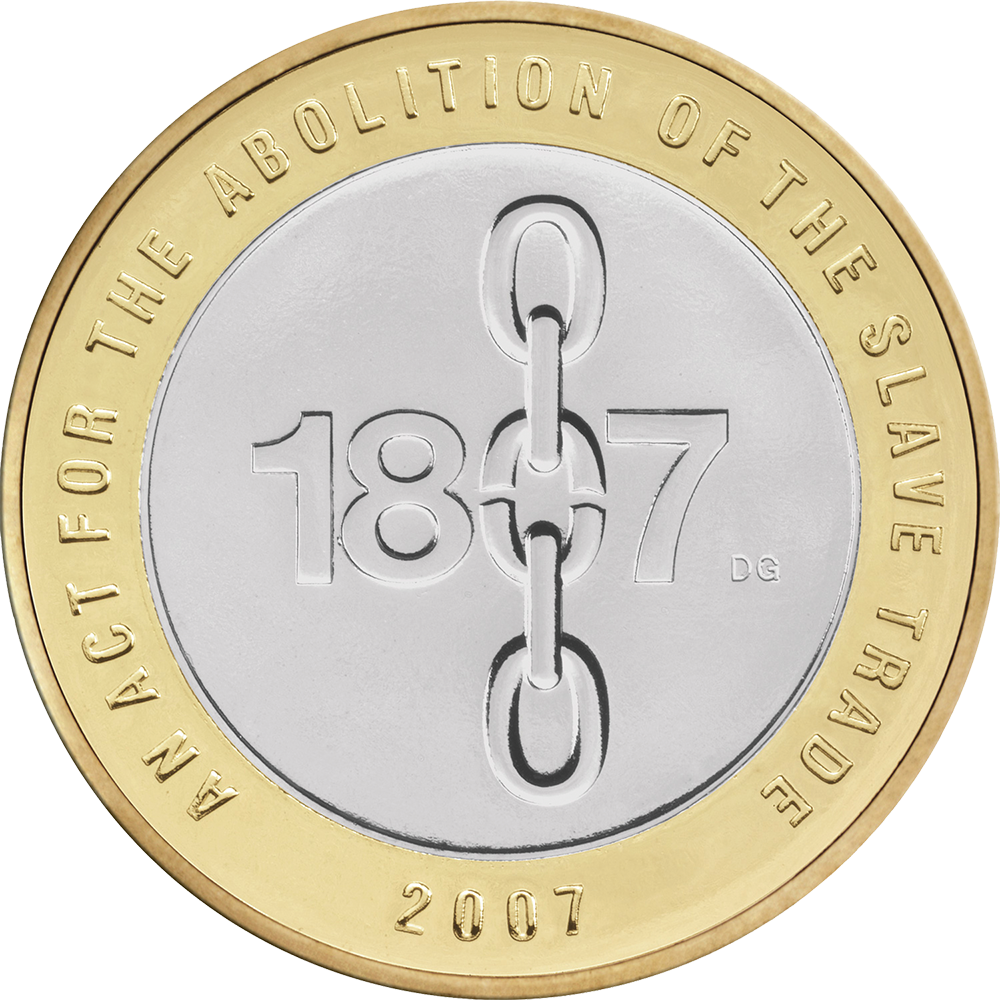 The 1807 Slave Trade 2007 £2 coin, designed by David Gentleman. The year's zero contains the broken link in 'the chains of oppression'. Around the perimeter of the coin are the words 'An Act for the Abolition of the Slave Trade' (photograph via the Chancery Collection).