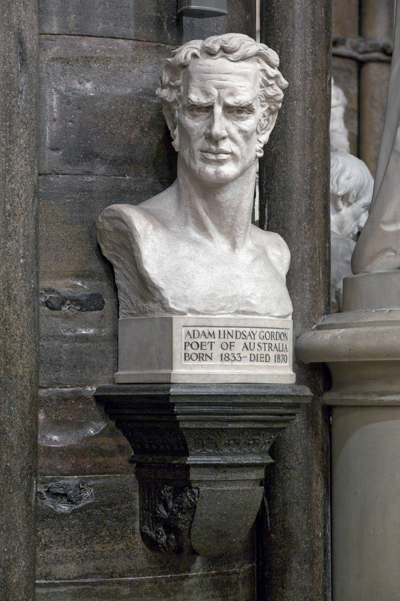 Memorial bust of Adam Lindsay Gordon (photograph via Westminster Abbey Library, © Dean and Chapter of Westminster)