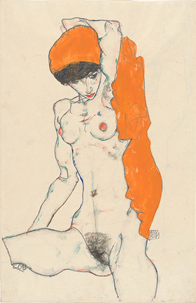 Egon Schiele, (Austrian, 1890–1918) Standing Nude with Orange Drapery, 1914 Watercolor, gouache and graphite on paper 18 1/4 x 12 in. (46.4 x 30.5 cm) The Metropolitan Museum of Art, Bequest of Scofield Thayer, 1982