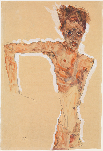 Egon Schiele, (Austrian, 1890–1918) Self-Portrait, 1911 Watercolor, gouache, and graphite on paper, 20 1/4 x 13 3/4 in. (51.4 x 34.9 cm) The Metropolitan Museum of Art, New York, Bequest of Scofield Thayer, 1982