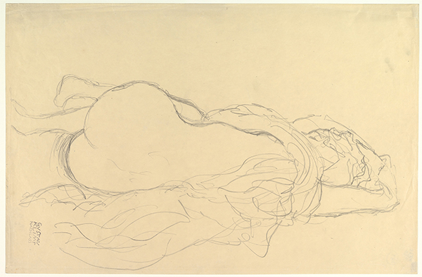 Gustav Klimt, (Austrian 1862–1918) Reclining Nude, ca. 1913 Graphite 14 7/8 x 22 1/2 in. (37.8 x 57.2 cm) The Metropolitan Museum of Art, Bequest of Scofield Thayer, 1982