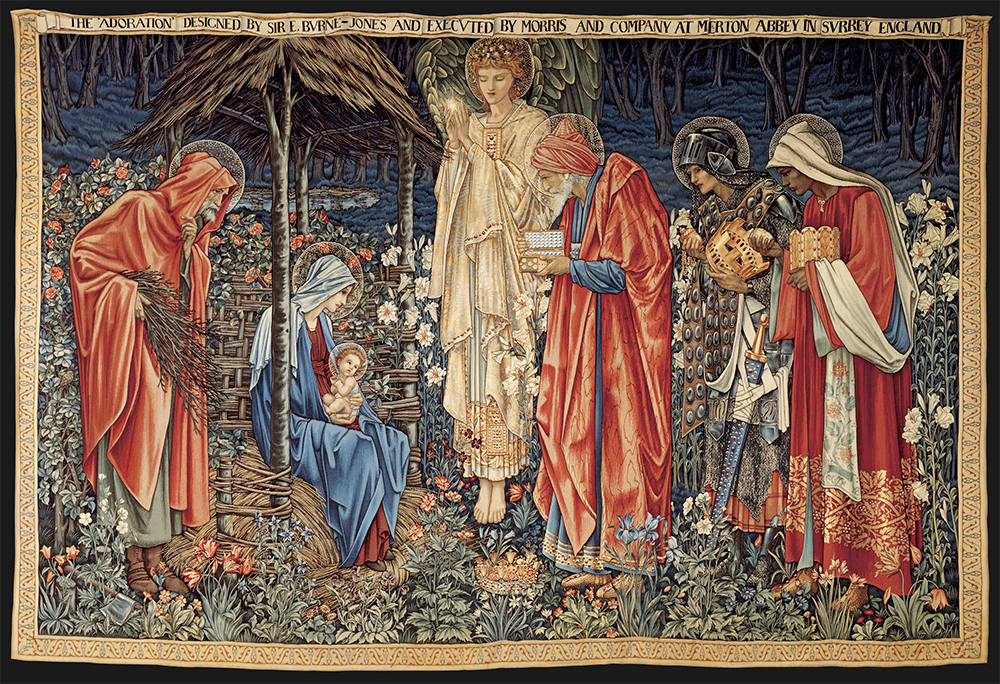 The adoration of the Magi designed 1887 manufactured 1900-02 wool, silk 251.2 x 372.5 cm Morgan Thomas Bequest Fund 1917 Art Gallery of South Australia, Adelaide