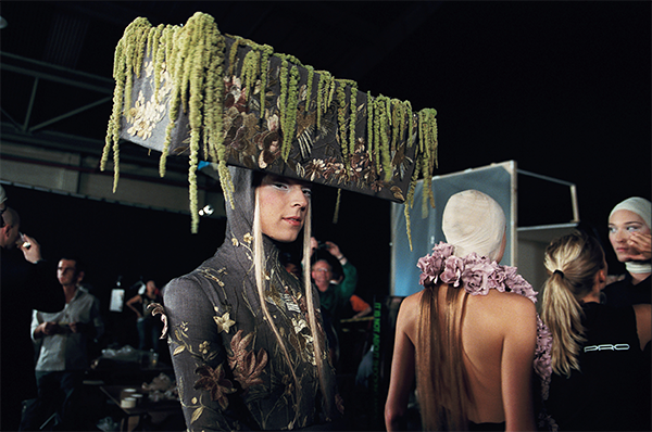 A model exhibiting one of Alexander McQueen's designs (Madman Films)