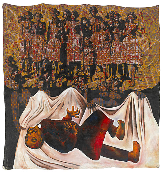 Julie Dowling Badimaya born 1969 Goodbye white fella religion 1992 synthetic polymer paint, earth pigments and blood on canvas 174.5 x 164.5 cm National Gallery of Victoria, Melbourne Purchased, NGV Foundation, 2007 © Julie Dowling/Licensed by Viscopy, 2017