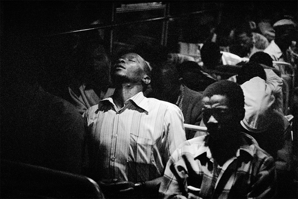 Going home: Marabastad-Waterval route: for most of the people in this bus, the cycle will start again tomorrow at between 2 and 3 am  1984 silver gelatin photograph on fibre-based paper Image courtesy Goodman Gallery, Johannesburg and Cape Town © The David Goldblatt Legacy Trust