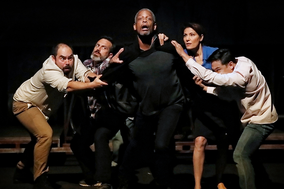 Julius Caesar cast, (from left) Ivan Donato, Russell Smith, Kenneth Ransom, Neveen Hanna, and Jemwel Danao (photo by Prudence Upton)