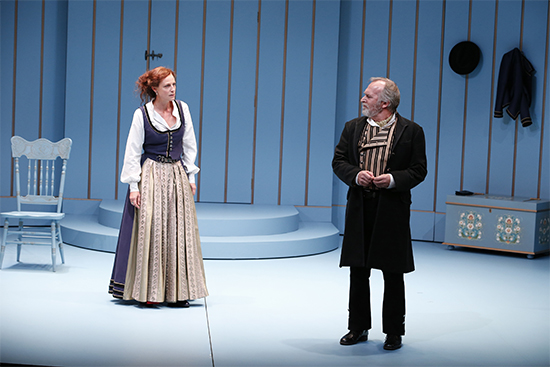 Marta Dusseldorp as Nora and Greg Stone as Torvald in A Doll's House, Part 2 by Melbourne Theatre Company (photo by Jeff Busby)