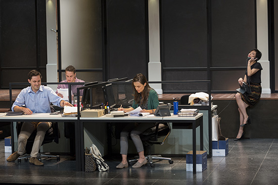 Jordan Fraser-Trumble, Callan Colley, Jane Harber, and Aileen Huynh in Melbourne Theatre Company's production of Gloria (photograph by Brett Boardman)