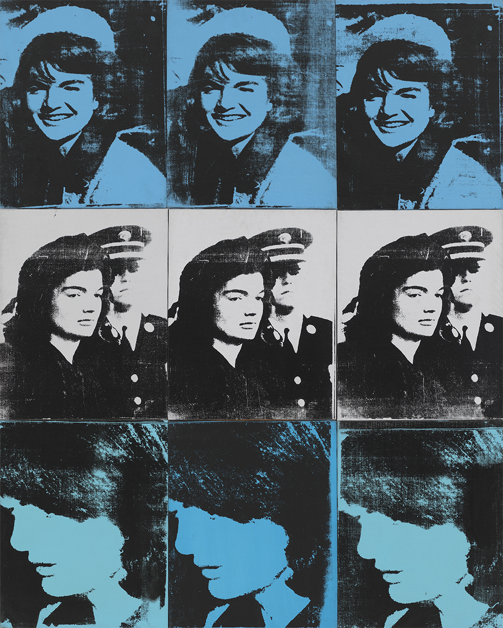 Andy Warhol (1928–1987), Nine Jackies, 1964. Acrylic and silkscreen ink on linen, nine panels: 60 3⁄8 × 48 1⁄4 in. (153.4 × 122.6 cm) overall. Whitney Museum of American Art, New York; gift of The American Contemporary Art Foundation, Inc. Leonard A. Lauder, President 2002.273 © The Andy Warhol Foundation for the Visual Arts, Inc. / Artists Rights Society (ARS) New York