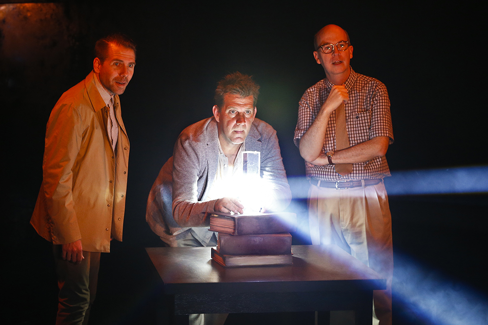 Lucas Stibbard, Rhys Muldoon (as Isaac Newton), and Daniel Murphy in Nearer the Gods (photo by Jeff Busby)