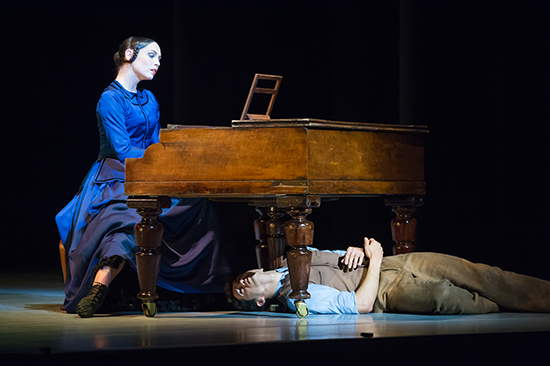RNZB Dancers Abigail Boyle and Alexandre Ferreira with piano image Stephen ACourt ABR Arts