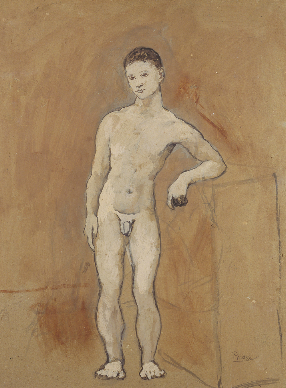 Pablo Picasso, Nude boy, 1906, gouache on card, 67.5 x 52 cm, The State Hermitage Museum, St Petersburg, Inv OR 40777 © Pablo Picasso/Succession Pablo Picasso/Copyright Agency 2018 (photo: © The State Hermitage Museum 2018, Vladimir Terebenin, Leonard Kheifets and Yuri Mololkovets)