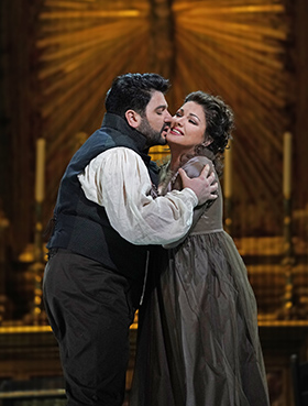 Tosca Yusif Eyvazov as Cavaradossi and Anna Netrebko in the title role of Puccinis Tosca Photo Ken Howard Met Opera