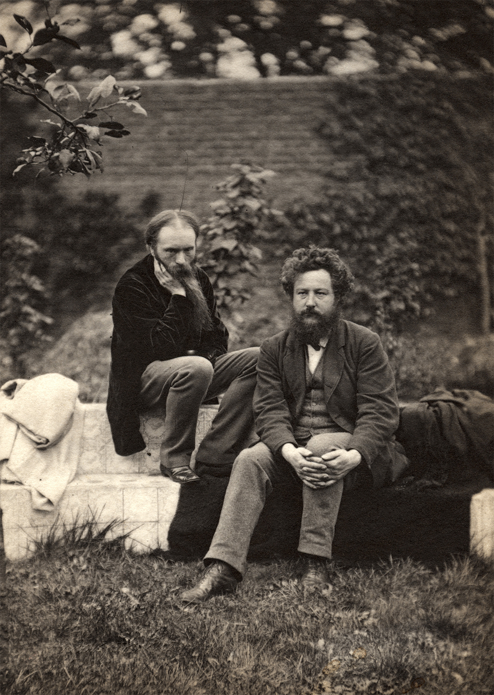 Sir Edward Burne-Jones (left) and William Morris (right), by Frederick Hollyer, platinum print, 1874 (Copyright National Portrait Gallery London)