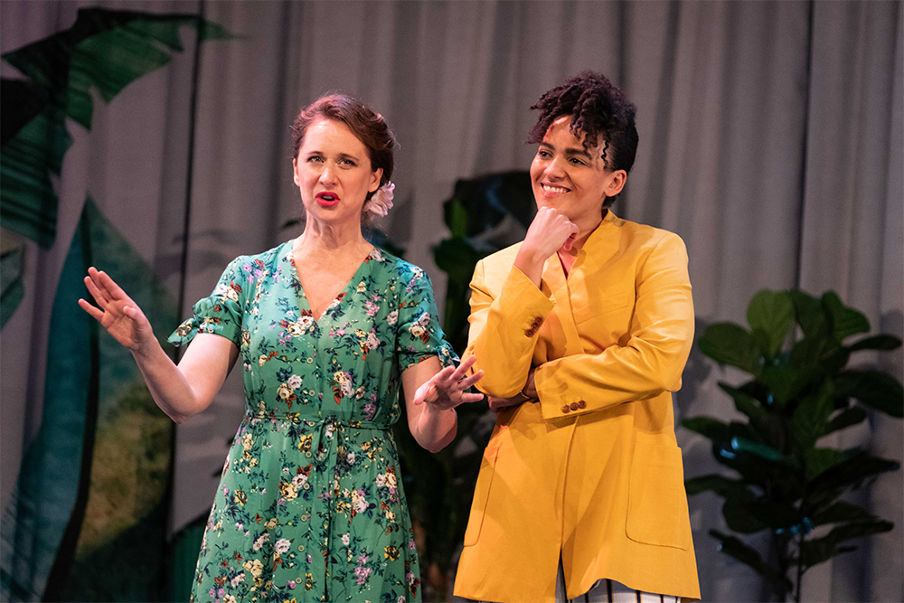 Mandy Bishop as Dogberry and Zindzi Okenyo as Beatrice in Much Ado About Nothing (photograph by Clare Hawley)