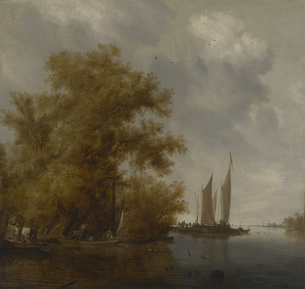 Salomon van Ruysdael  River landscape with boats c. 1640-1650  oil on canvas  105.2 × 111.0 cm  National Gallery of Victoria, Melbourne Felton Bequest, 1933