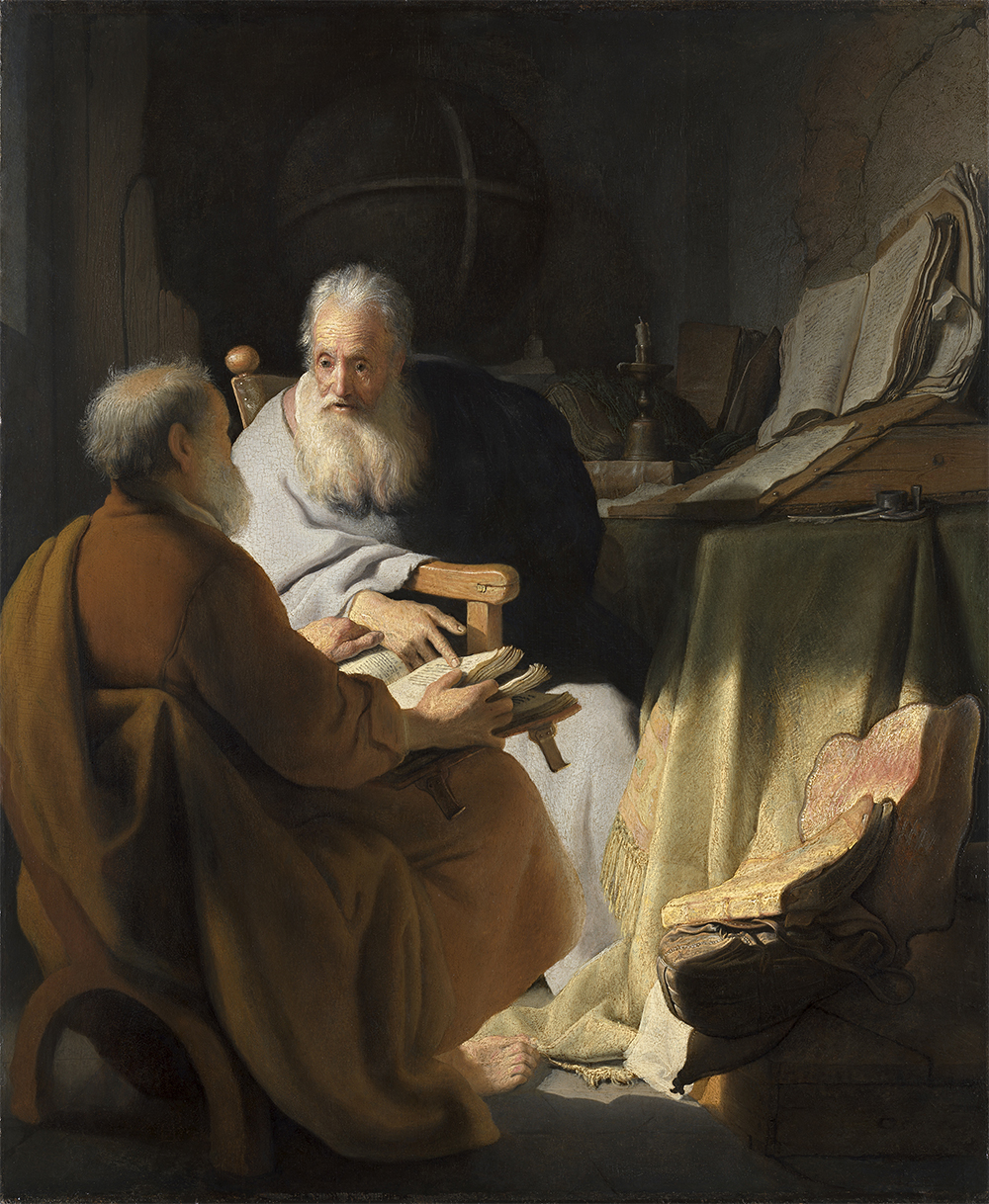 Rembrandt Harmensz. van Rijn  Two old men disputing 1628  oil on wood panel  72.4 × 59.7 cm  National Gallery of Victoria, Melbourne Felton Bequest, 1936