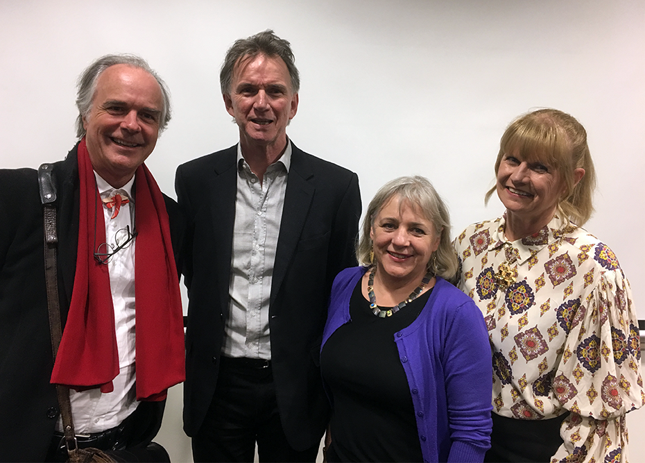 (L-R): Peter Rose with Rae Frances (centre) and Calibre Essay Prize winners David Hansen and Grace Karskens, August 2019