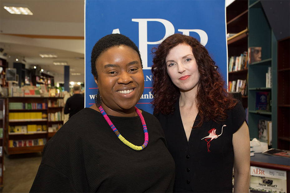Judge Maxine Beneba Clarke and Jolley Prize winner Sonja Dechian at the 2019 Jolley Prize ceremony (photograph by Daniel O'Brien)