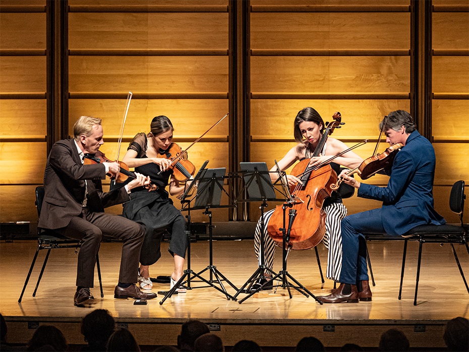 Australian String Quartet performing Nigel Westlake's Sacred Sky at City Recital Hall in Sydney (photograph by Sam Jozeps)