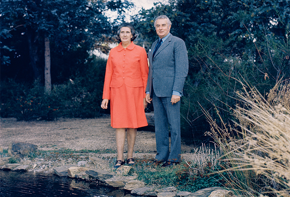 Margaret and Gough Whitlam at The Lodge, 1973 (photograph via National Archives of Australia/Wikimedia Commons)