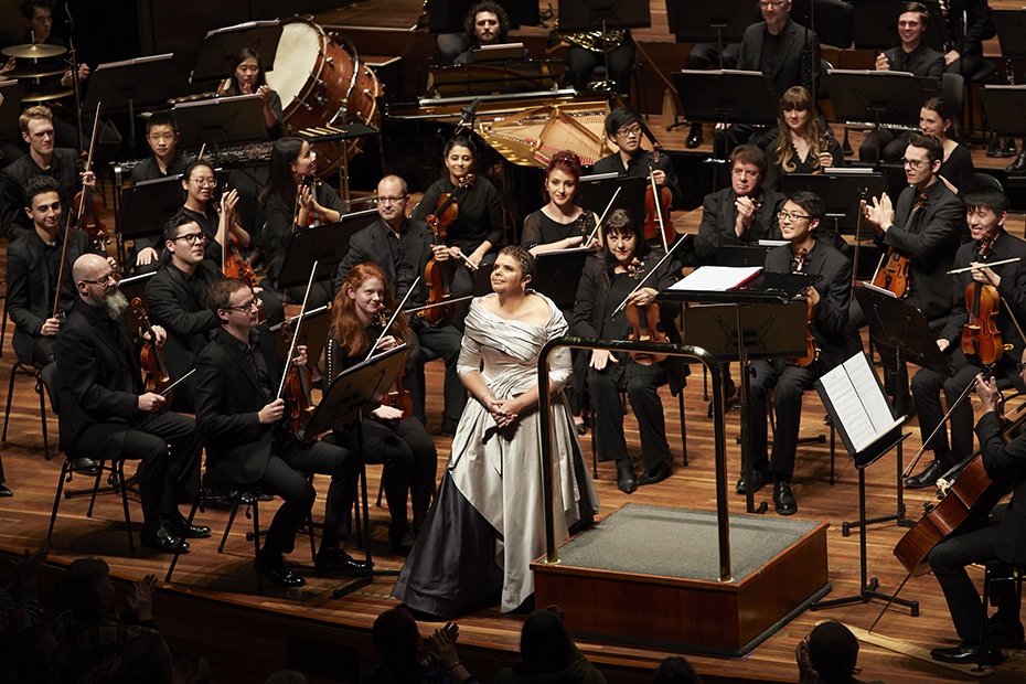 Deborah Cheetham performing in Eumeralla: A war requiem for peace with the Melbourne Symphony Orchestra (photograph by Laura Manariti)