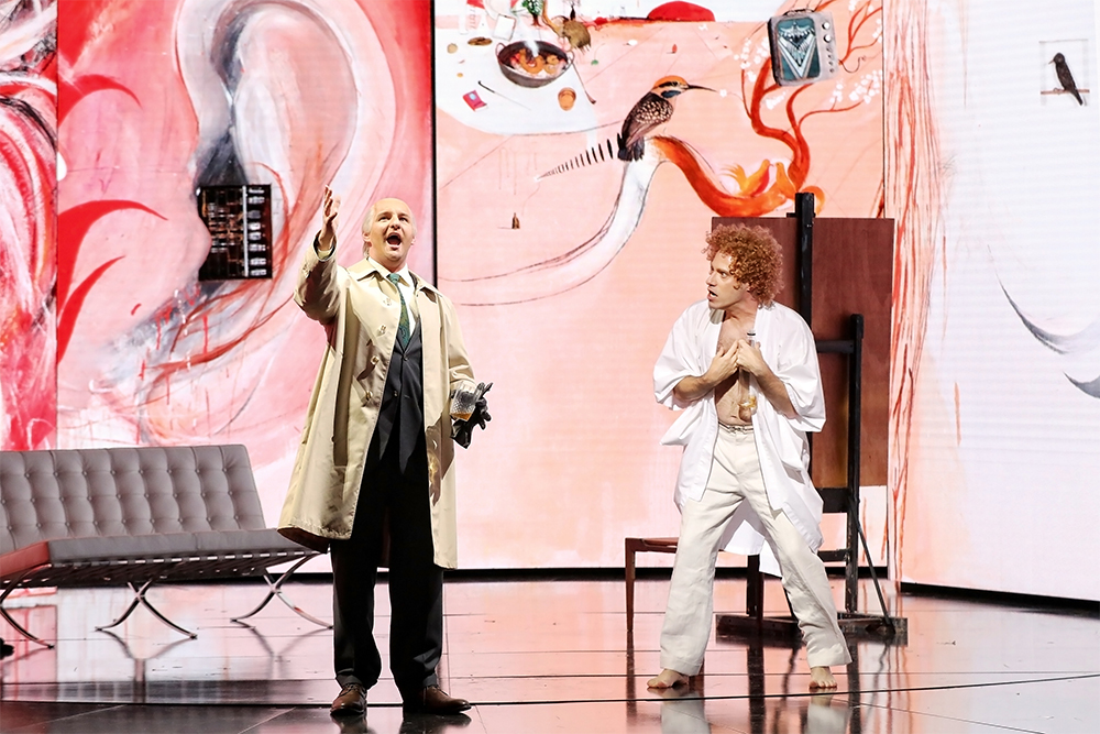 Bradley Cooper as Frank Lloyd and Leigh Melrose as Brett Whiteley in Opera Australia's 2019 production of Whiteley at the Sydney Opera House (photograph by Prudence Upton)