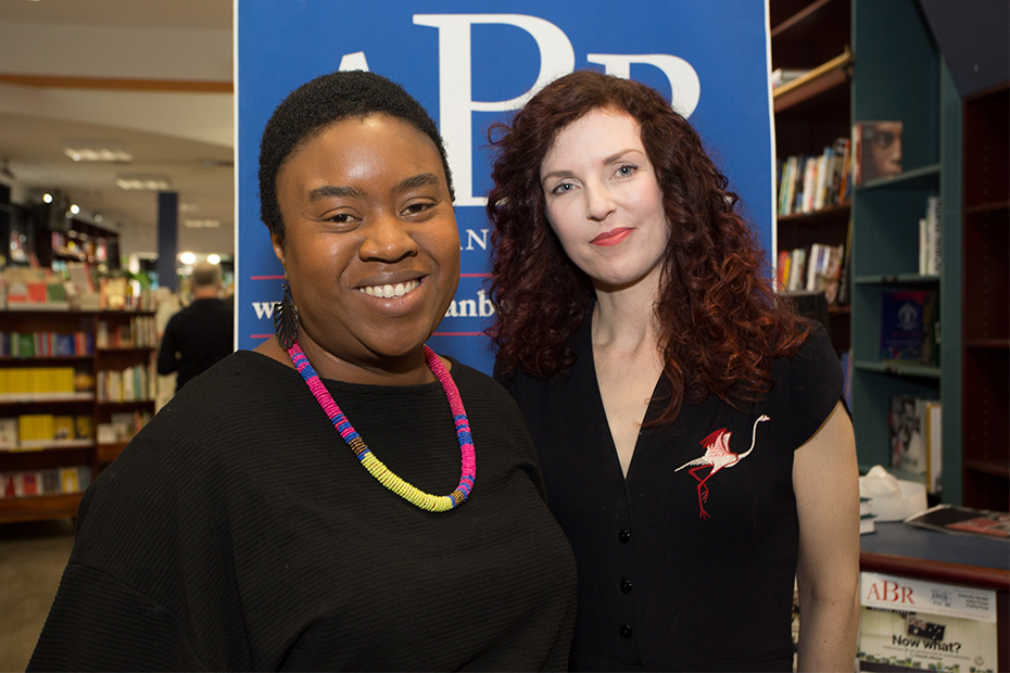 Judge Maxine Beneba Clarke and winner Sonja Dechian at the 2019 Jolley Prize ceremony