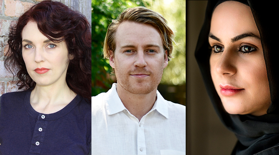 The shortlisted authors for the 2019 Jolley Prize: Sonja Dechian, Morgan Nunan, and Raaza Jamshed