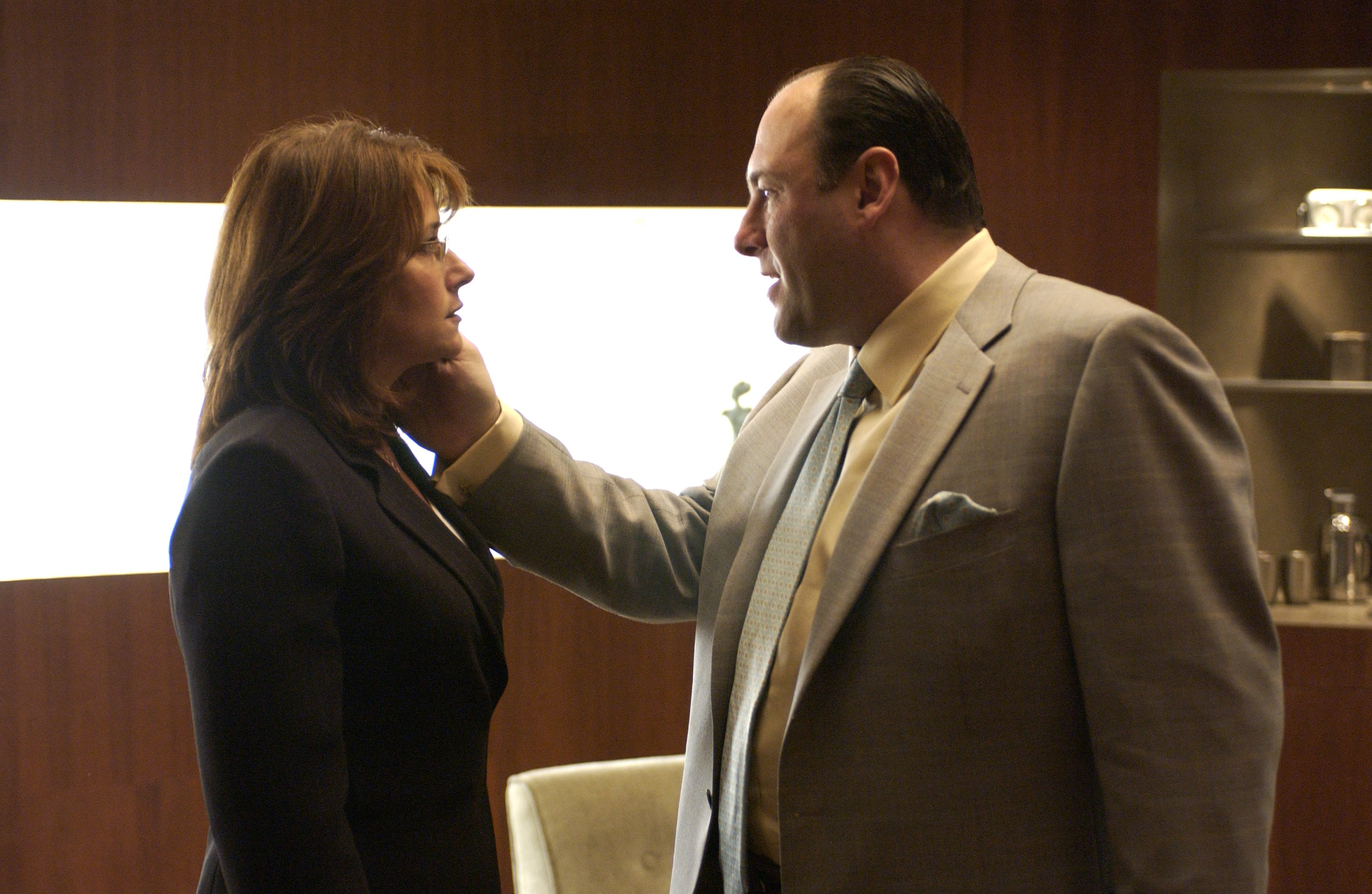 Dr Melfi (Lorraine Bracco) and Tony Soprano (James Gandolfini) in The Sopranos (HBO)