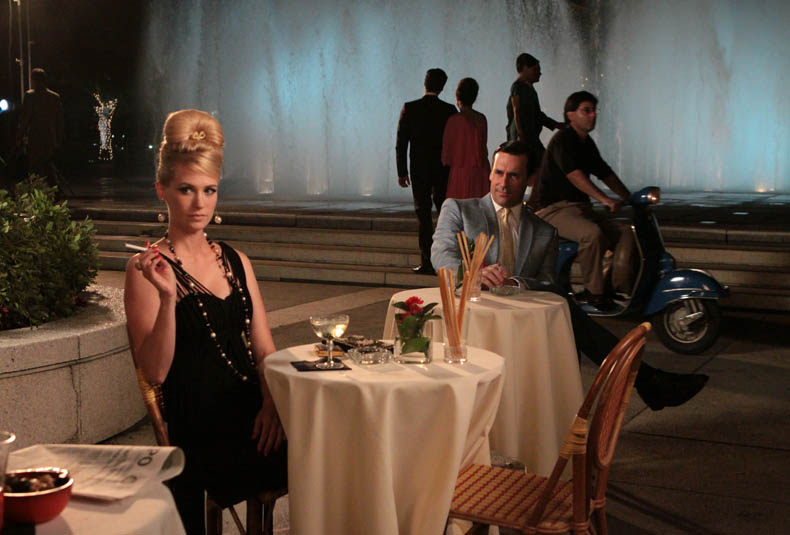 Betty Draper (January Jones) and Don Draper (Jon Hamm) in Mad Men (photograph by Carin Baer, AMC)
