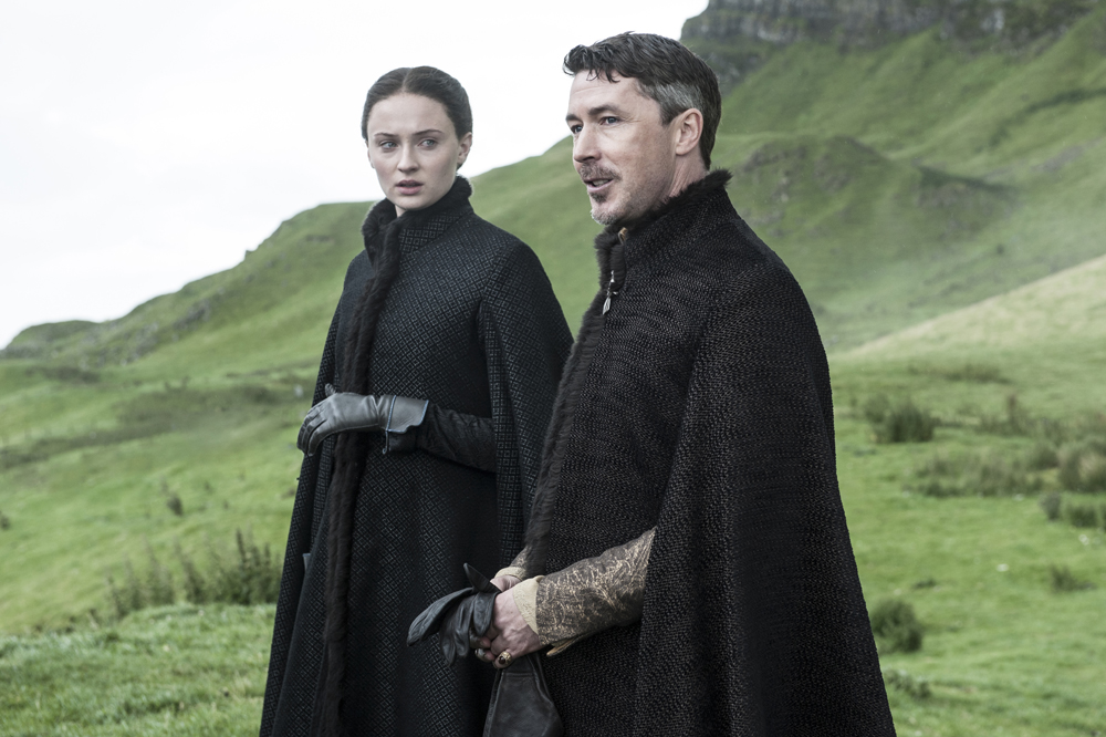 Petyr Baelish (Aiden Gillen) and Sansa Starke (Sophie Turner) in Game Of Thrones (HBO)