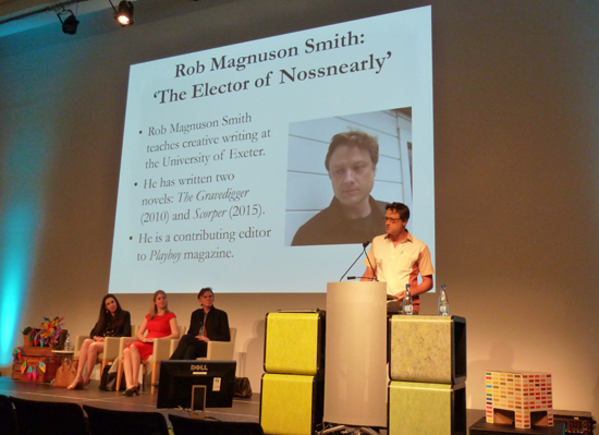 Rob Magnuson Smith reads from his story 'The Elector of Nossnearly' at the 2015 Jolley Prize ceremony at the Brisbane Writers Festival