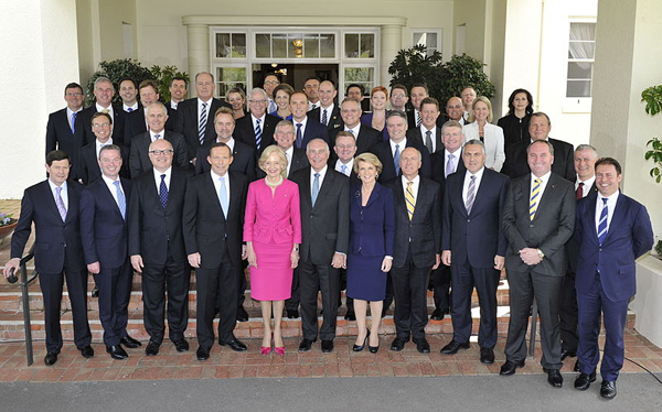 Quentin Bryce with the newly sworn in Abbott Ministry cropped