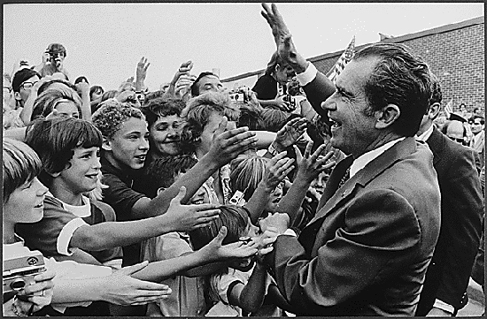 Richard Nixon greeted by children during campaign 1972