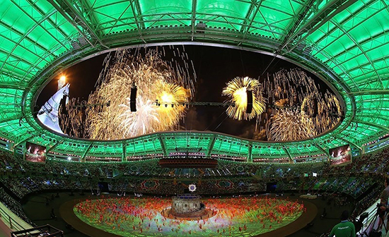 The opening ceremony of the fifth Asian Indoor and Martial Arts Games at the Saparmurat Turkmenbashi Olympic Stadium Turkmenistan photograph by Javid Nikour Wikimedia Commons