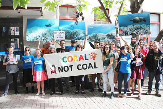 Coral not coal protest at India Finance Minister Arun Jaitley Visit to Australia 25563929593 ABR Online