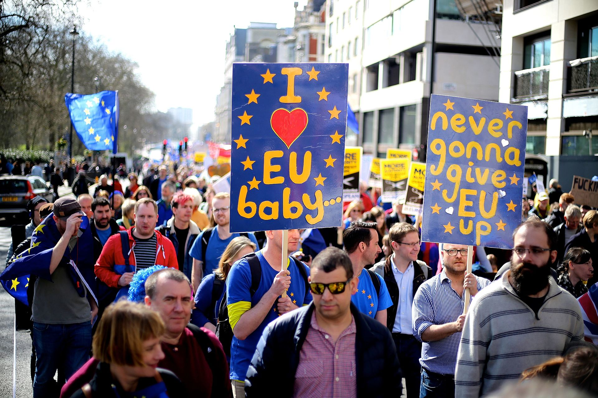 The pro-EU march from Hyde Park to Westminster in London on March 25, 2017 (photograph via Ilovetheeu/Wikimedia Commons)