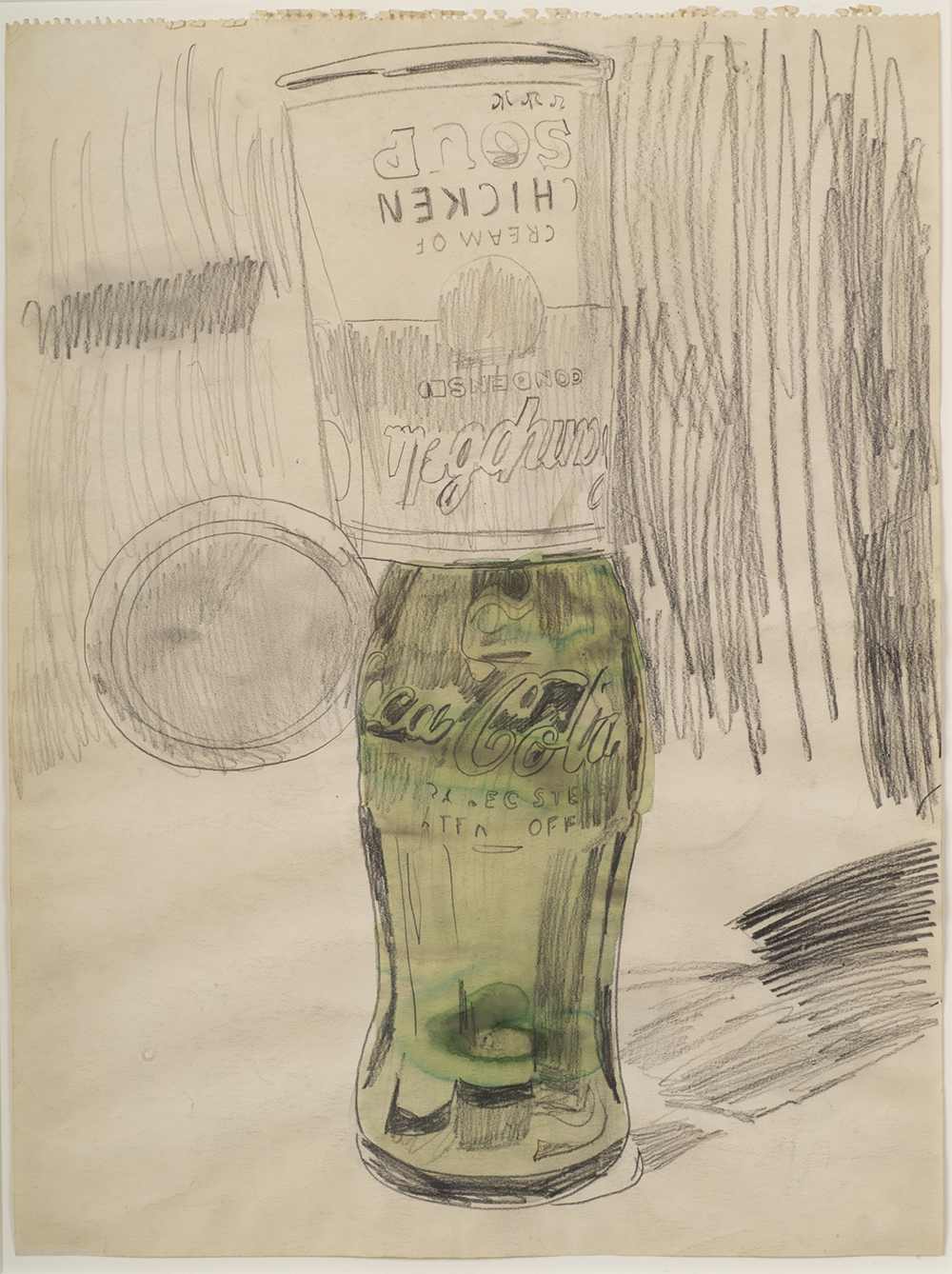 Andy Warhol (1928–1987), Campbell's Soup Can over Coke Bottle, 1962. Graphite and watercolor on pa-per, 23 1⁄2 × 17 3⁄4 in. (59.7 × 45.1 cm). The Brant Foundation, Greenwich, CT © The Andy Warhol Foun-dation for the Visual Arts, Inc. / Artists Rights Society (ARS) New York