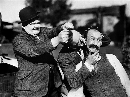 Oliver Hardy Stan Laurel and James Finlayson in Big Business 1929 (MGM)