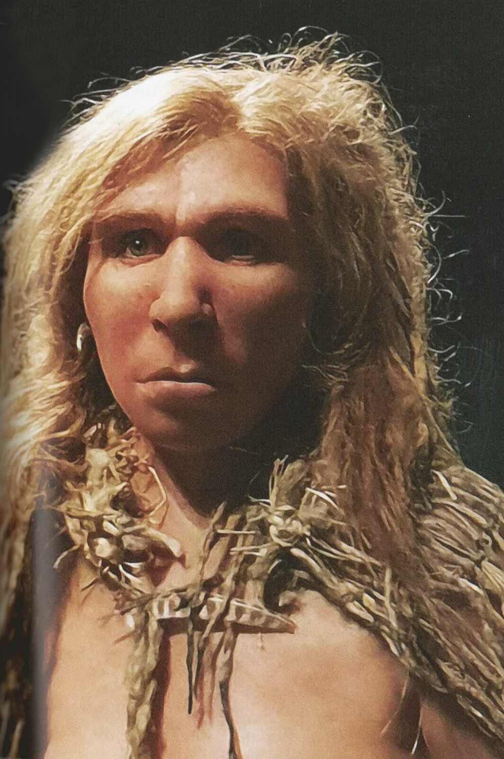 A model of a Neanderthal woman constructed in 2014, shown at the Museum of the Confluences, Lyon.