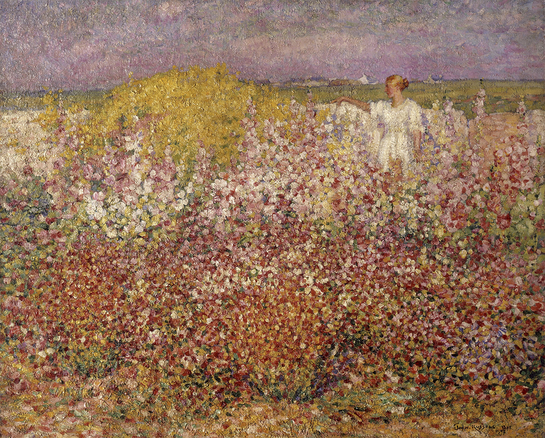 Mrs Russell among the flowers in the garden of Goulphar Belle Île 1907, by John Russell. Musée dOrsay Paris held by the Musée de Morlaix bequest of Mme Jouve, 1948