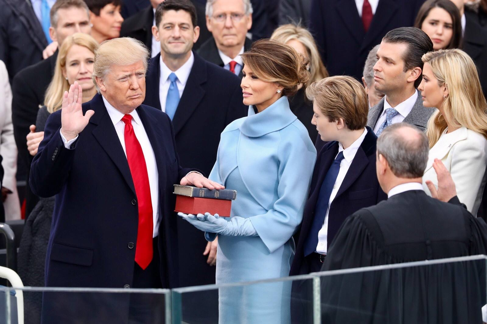 President Donald Trump being sworn in on 20 January 2017 at the U.S. Capitol building in Washington (photo via Wikimedia Commons)