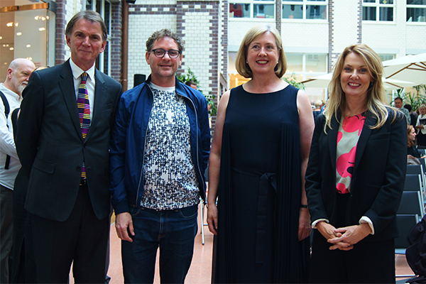 Peter Rose, Brook Andrew, ambassador Lynette Wood, and Anna Funder at the Berlin embassy.