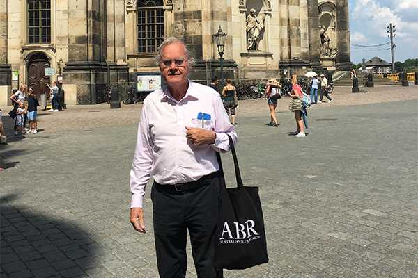 Peter McLennan sporting exclusive ABR merchandise in Dresden.