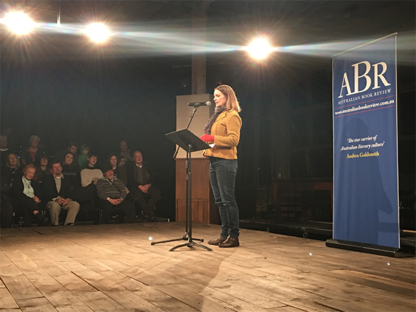 Claire Aman, who received third place in the Jolley Prize, reading her story 'Vasco'.