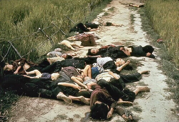 Photo taken by United States Army photographer Ronald L. Haeberle on March 16, 1968 in the aftermath of the My Lai massacre showing mostly women and children dead on a road. (credit: Wiki Commons)