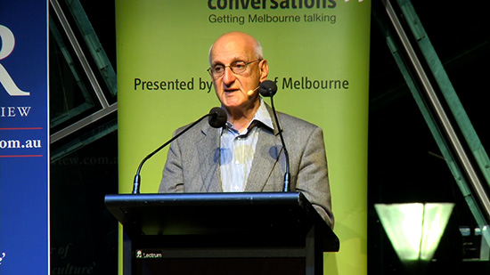 ABR Laureate David Malouf speaks at an ABR event, 2014