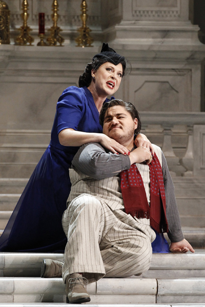 Martina Serafin as Tosca and Diego Torre as Cavaradossi photograph by Jeff Busby